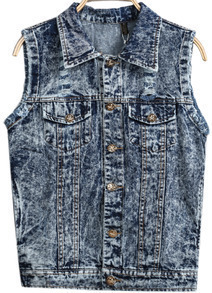 Blue Lapel Sleeveless Pockets Denim Vest