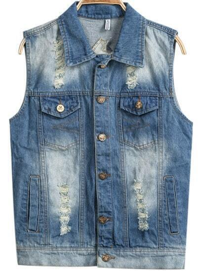 Blue Lapel Sleeveless Bleached Ripped Vest