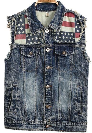 Navy Sleeveless Bleached Fringe Stars Print Vest