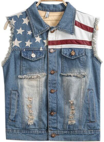 Light Blue Sleeveless Bleached Fringe Stars Print Vest