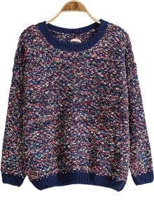 Blue Long Sleeve Bandage Knit Sweater