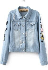 Blue Long Sleeve Donald Duck Print Crop Jacket