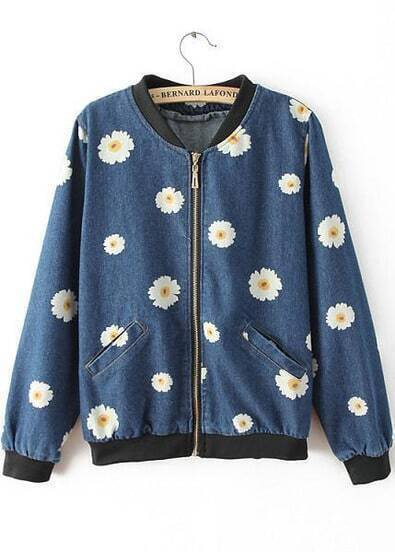 Blue Long Sleeve Daisy Print Denim Jacket
