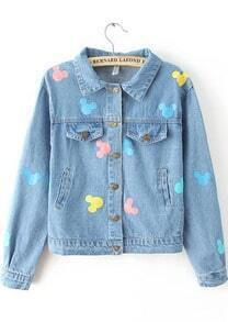 Light Blue Lapel Long Sleeve Mickey Print Denim Jacket