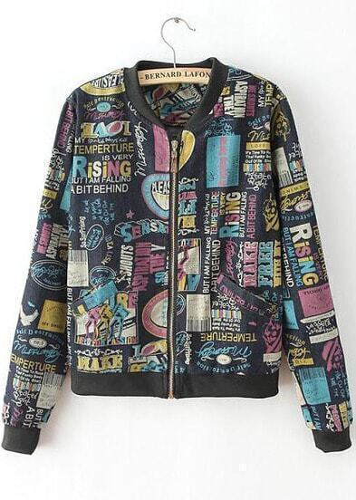 Black Long Sleeve Graffiti Print Pockets Jacket