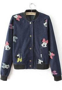 Navy Long Sleeve Mickey Print Crop Jacket
