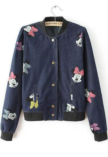 Navy Long Sleeve Mickey Print Crop Jacket