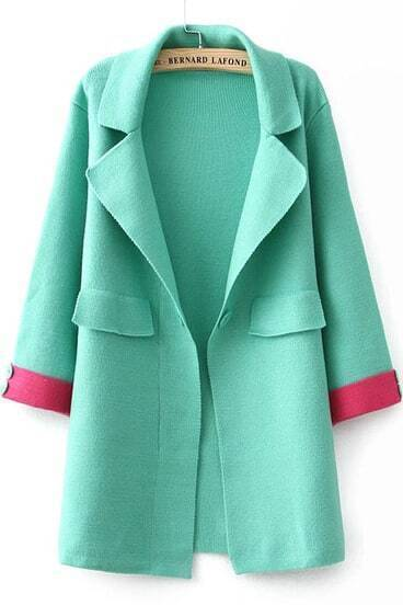 Green Lapel Long Sleeve Knit Coat