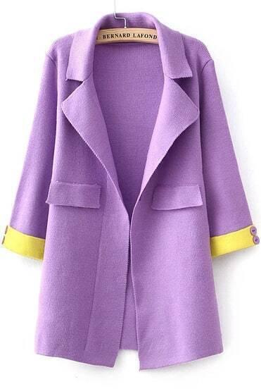 Purple Lapel Long Sleeve Knit Coat
