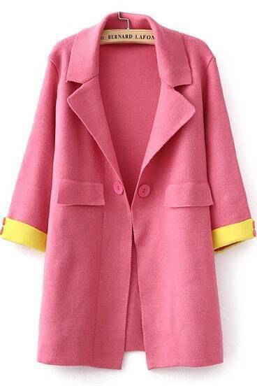 Red Lapel Long Sleeve Knit Coat
