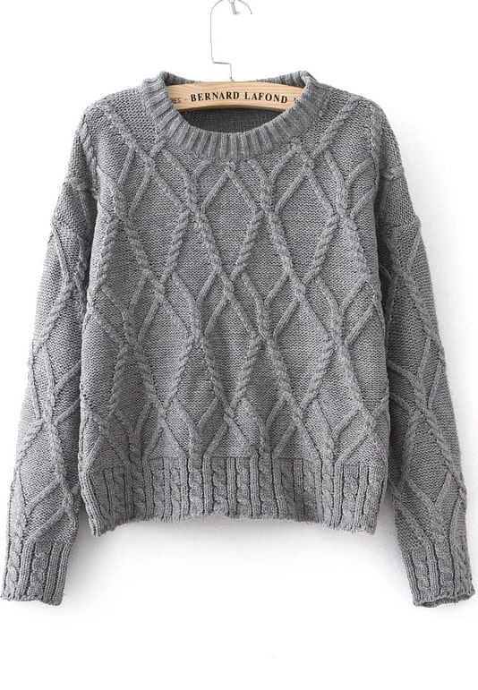 Grey Long Sleeve Cable Knit Sweater -SheIn(Sheinside)