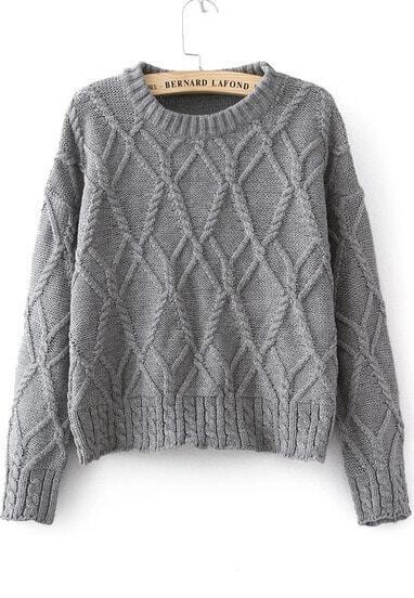 Grey Long Sleeve Cable Knit Sweater