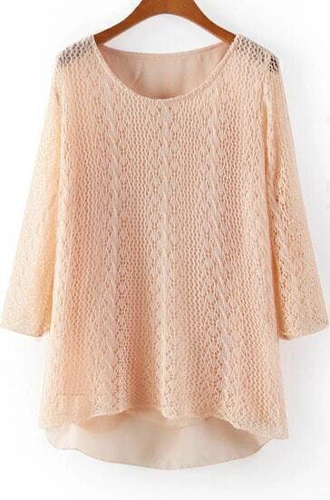 Apricot Long Sleeve Hollow Floral Crochet Sweater