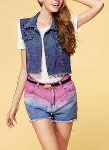 Blue Lapel Sleeveless Horse Print Denim Vest