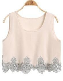 Apricot Sleeveless Embroidered Chiffon Tank Top