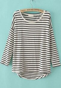 White Long Sleeve Striped Dipped Hem T-Shirt