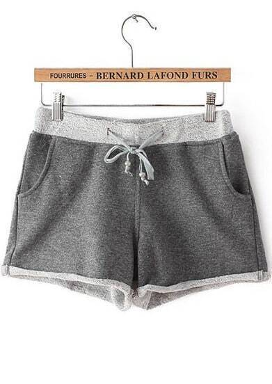 Grey Drawstring Waist Flange Pocket Shorts