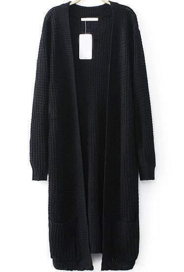 Black Long Sleeve Pockets Knit Cardigan