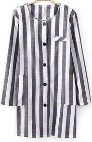 Grey White Vertical Stripe Pockets Coat