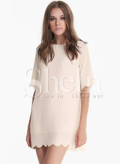Apricot Half Sleeve Shift Chiffon Dress