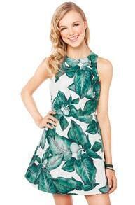 White Sleeveless Green Leaves Print Dress