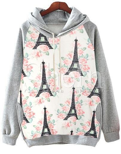 Grey Hooded Tower Eiffel Floral Print Sweatshirt