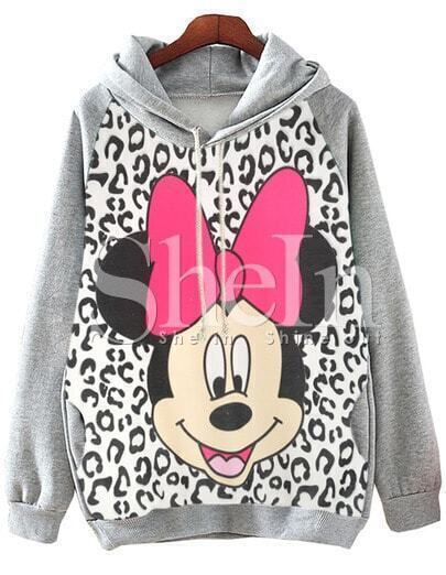 Grey Hooded Mickey Leopard Print Sweatshirt