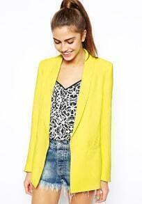 Neon Yellow Long Sleeve Pockets Blazer