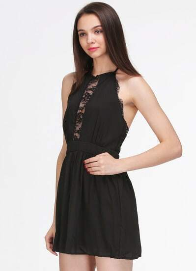 Black Halter Sleeveless Lace Slim Dress