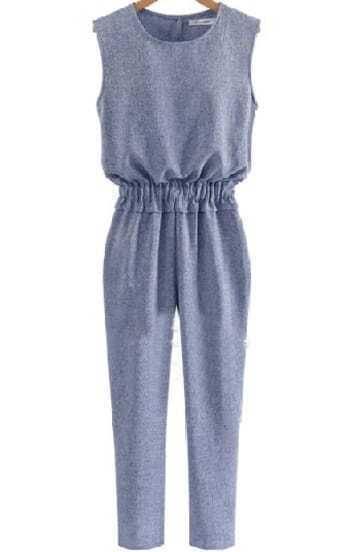 Blue Sleeveless Elastic Waist Slim Jumpsuit