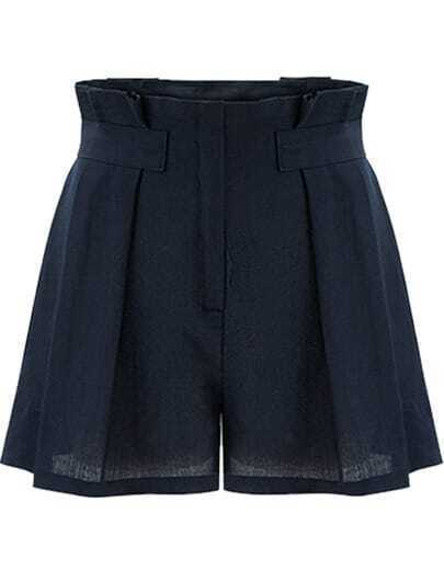 Navy Zipper Loose Shorts