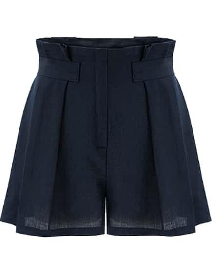 Navy Zipper Loose Shorts