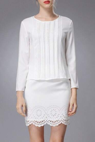 White Round Neck Long Sleeve Top With Hollow Skirt