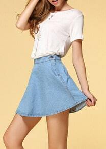 Blue Vintage A Line Denim Skirt