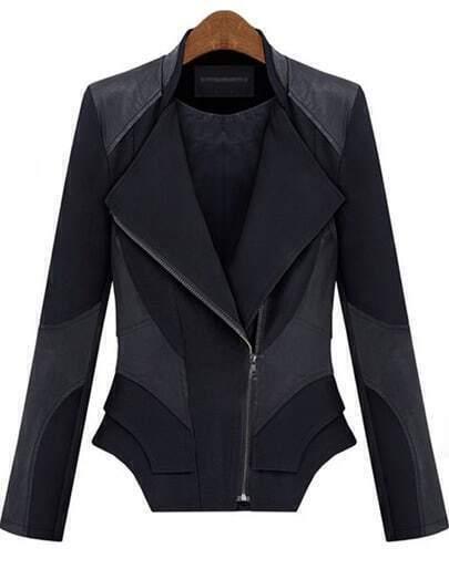 Black Contrast PU Leather Zipper Slim Coat