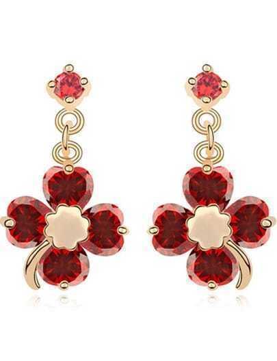 Red Gemstone Gold Flower Earrings