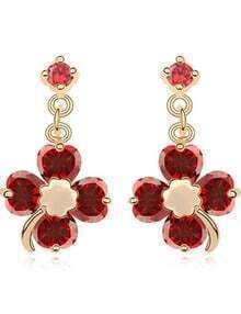 Red Gemstone Gold Flower Earrings