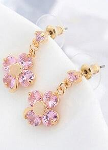 Pink Gemstone Gold Flower Earrings