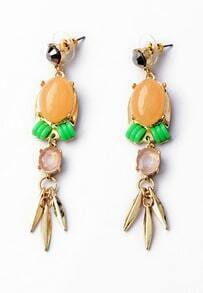 Yellow Gemstone Gold Tassel Earrings