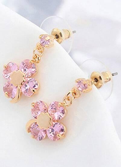 Pink Gemstone Gold Flower Earrings