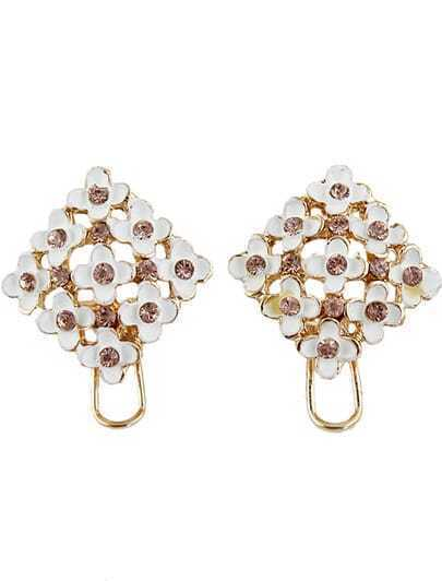 Gold Diamond Glaze Flower Earrings