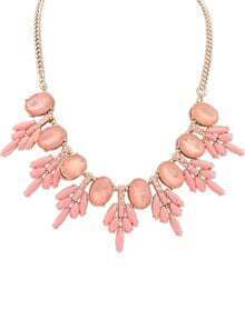 Pink Gemstone Gold Chain Necklace