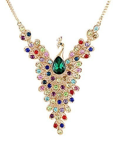Multicolor Diamond Gold Peacock Necklace