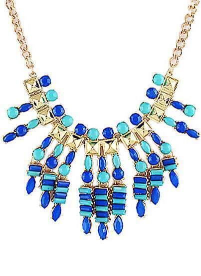 Blue Gemstone Gold Chain Necklace