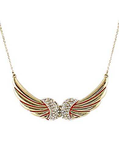 Gold Diamond Wing Red Glaze Necklace