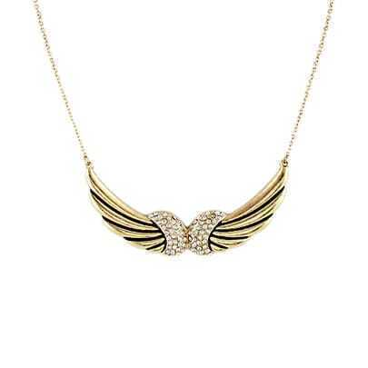Gold Diamond Wing Black Glaze Necklace