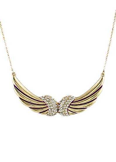 Gold Diamond Wing Purple Glaze Necklace