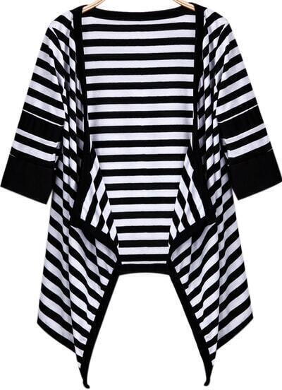 Black White Thick Striped Loose Outerwear