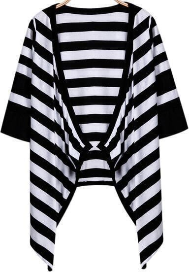 Black White Pinstripe Loose Outerwear