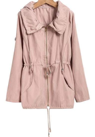 Pink Lapel Long Sleeve Drawstring Pockets Coat
